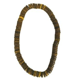Vintage Wood Ring Beads Stretch Necklace Jewelry